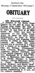 Vidler - William John - Obituary