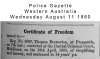 Brewerton - Thomas - Certificate of Freedom granted