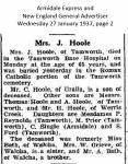 Hoole - Mrs J - Obituary