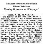 Bendeich - Annie M - Obituary