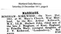 Bingham - Kirkwood - Herbert John and Priscilla Mary - Marriage