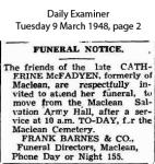 McFadyen - Catherine - Funeral Notice