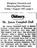 Duff - James Campbell - Death and Funeral Notice