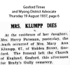 Klumpp - Mary Ann - Death and Funeral Notice