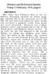 Pateman - Mary Ann - Obituary
