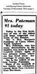 Pateman - Margaret - 91st Birthday