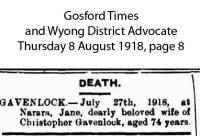 Gavenlock - Jane - Death Notice