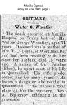 Wheatley - Walter George - Obituary