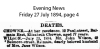 Chowne - Elizabeth - Death Notice - 1894