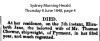 Chowne - Elizabeth Jane - Death Notice