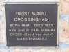 Memorial Plaque - Crossingham - Henry Albert and Jane Gilliban Wiseman