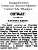 Bacon - Raymond - Death and funeral notice