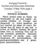 McBride - Thomas - Obituary 1924