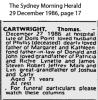 Death Notice - Cartwright - Thomas
