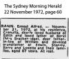 Rann - Ernest Alfred - Death Notice