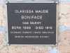 Memorial Plaque - Boniface - Clarissa Maude
