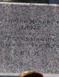 Jane Manion nee Poulter's Headstone