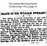 Death Notice - Durrant - Sir William