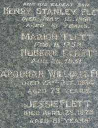 Headstone - Flett - Henry Stanley, Marion, Hubert, Farquhar William and Jessie