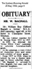 Bagnall - William Roy Clifford - Obituary