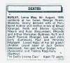 Burley - Lorna May - Death Notice