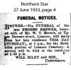 Brewer - Phoebe - Funeral Notice