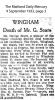 Soars - George - Obituary 1933