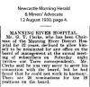 Clerke - George Thomas - Ceasing to be Chairman of Hospital Board