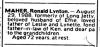 Death Notice - Maher - Ronald Lynton